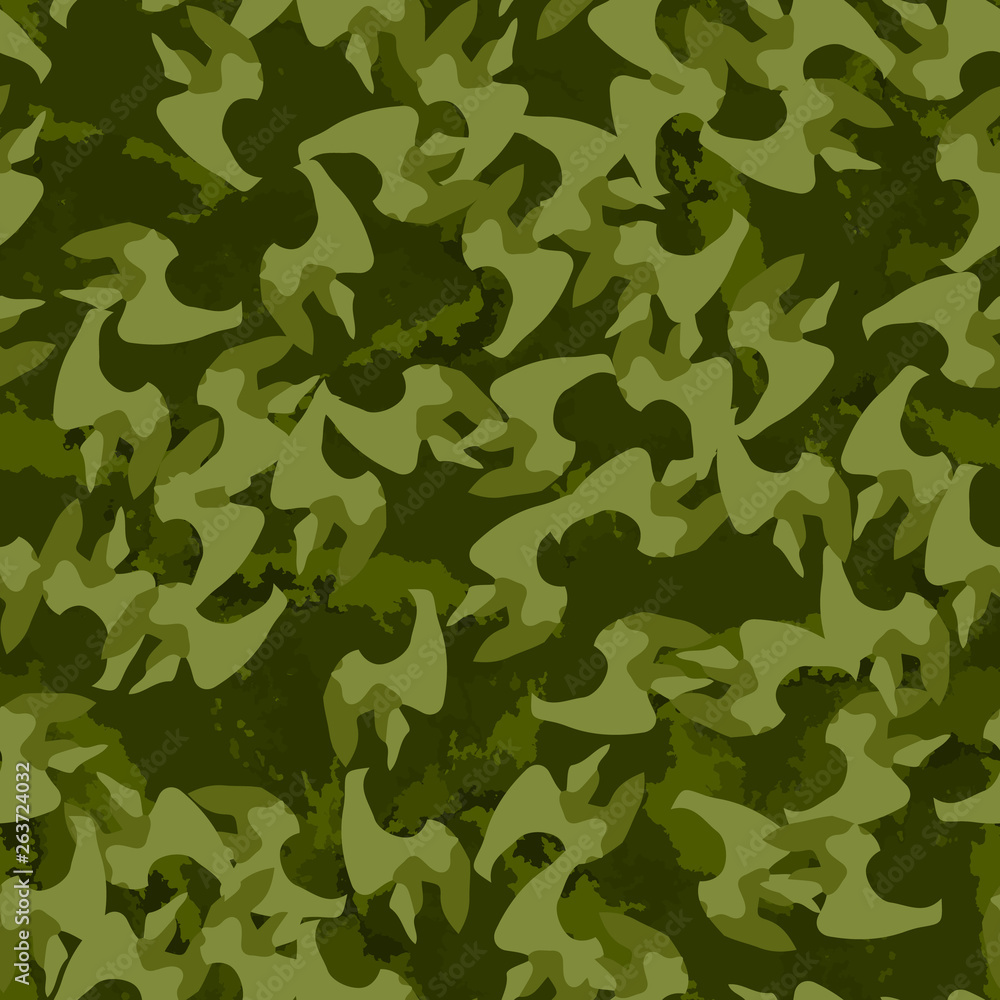 Forest camouflage of various shades of green colors