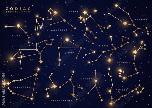 Fotomural Zodiac constellations gold set