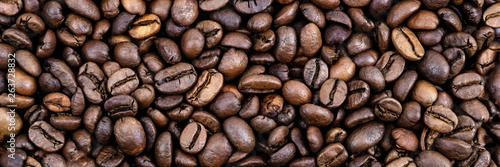 Canvas Prints Coffee beans Coffee grains. Background of roasted coffee beans brown. layout. Flat lay.