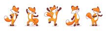 Set Of Five Hand-drawn Foxes. ...