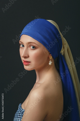 Portrait of a woman with a pearl earring, inspired by the painting of the great Wallpaper Mural