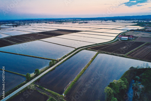 Foto auf AluDibond Grau Verkehrs Rice field, aerial view of sunset in Vercelli