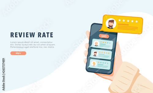 Fotomural Vector of an online application on mobile phone to rate and review customer service, product or experience