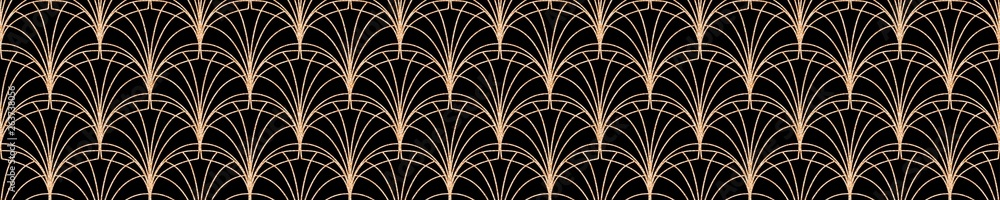 Modern geometric tiles pattern. Golden lined shape. Abstract art deco seamless luxury background.