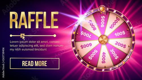 Cuadros en Lienzo Internet Raffle Roulette Fortune Banner Vector