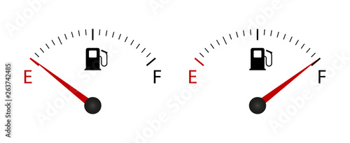 Cuadros en Lienzo  Fuel indicator Meter. Fuel gauge. Vector illustration.