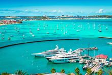 Luxury Yachts And Boats In The Marina Of Marigot, St Martin, Caribbean.