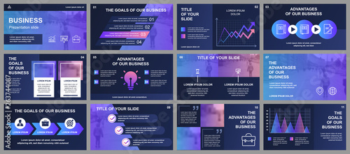 Fototapeta Business presentation slides templates from infographic elements. Can be used for presentation template, flyer and leaflet, brochure, corporate report, marketing, advertising, annual report, banner. obraz