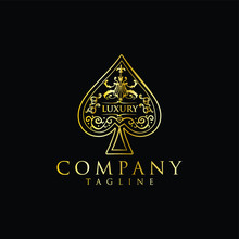 Gold Spade Logo Luxury Design Vintage Hipster Retro. The Heart Ace Spade Logo Gold Stock Vector