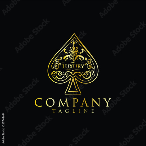 Photo  Gold Spade Luxury Logo vector / The heart ace gold stock vector