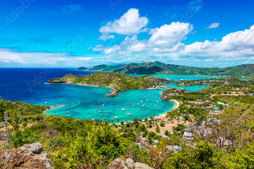 Antigua and Barbuda, Falmouth harbour bay landscape, Caribbean. Wallpaper Mural