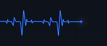 Blue Cardiogram On Black Backg...