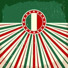 Italy Vintage Old Card With Italian Flag Colors, Vector Design, Italy Holiday Decoration