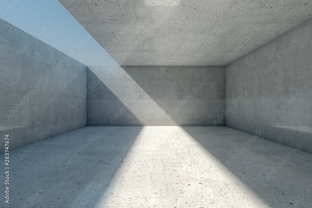 Fototapety, obrazy: Abstract empty concrete room background with open ceiling and wall, 3d illustration.