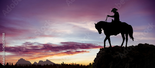 Silhouette of a cowboy on horseback observing the sunset from a rock overlooking the woods.