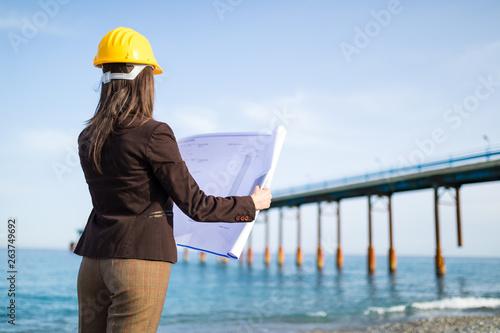 Photo Ingegnere donna con progetto in mano vista di spalle guarda dalla spiaggia il po