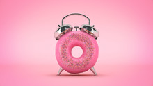 Breakfast Time, Donut With The Shape Of A Clock. 3d Rendering