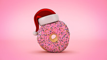 Donut With Santa Hat. Christmas Concept. 3d Rendering