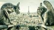canvas print picture - Gargoyles or chimeras on the Notre Dame de Paris overlooking the Paris city, France