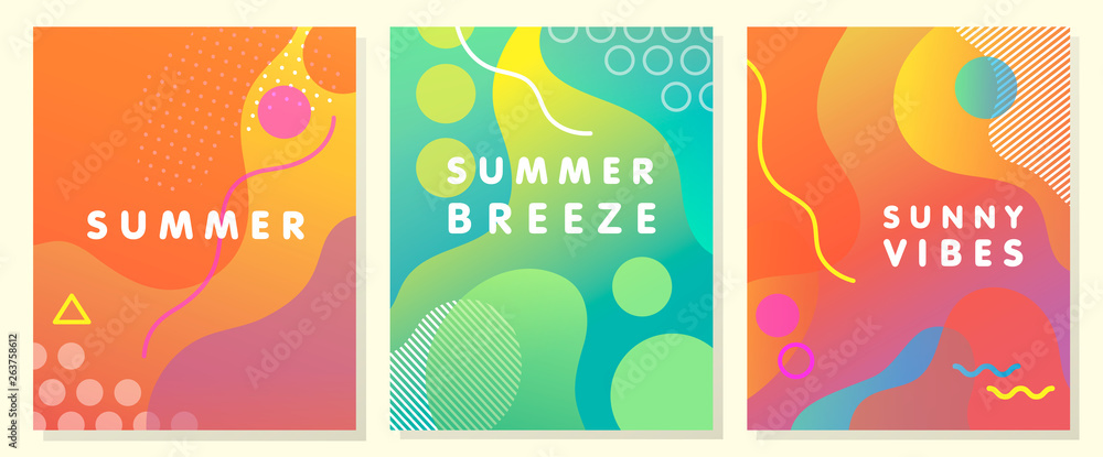 Fototapety, obrazy: Unique artistic summer cards with bright gradient background,shapes and geometric elements in memphis style.Abstract design cards perfect for prints,flyers,banners,invitations,special offer and more.