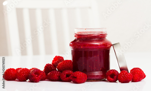 Raspberry jam and fresh raspberries