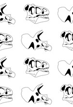 Vector Seamless Pattern Of Black Graphical Tyrannosaur Skull And Triceratops Skull On White Background. Dinosaur Textureps Skull On White Background. Dinosaur Texture