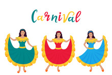 Cinco De Mayo. 5th Of May. Carnival. Three Young Latin Girls Dancing In Traditional Mexican Dresses