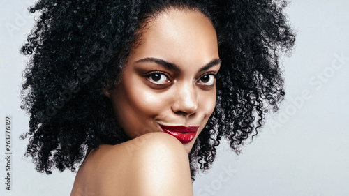 African American Fahion Model Portrait Brunette Curly Haired Young Woman Beauty Salon And Haircare Concept Web Banner With Copy Space Buy This Stock Photo And Explore Similar Images At Adobe Stock