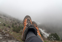 Mountain Boots In The Mountains Of The Himalayas