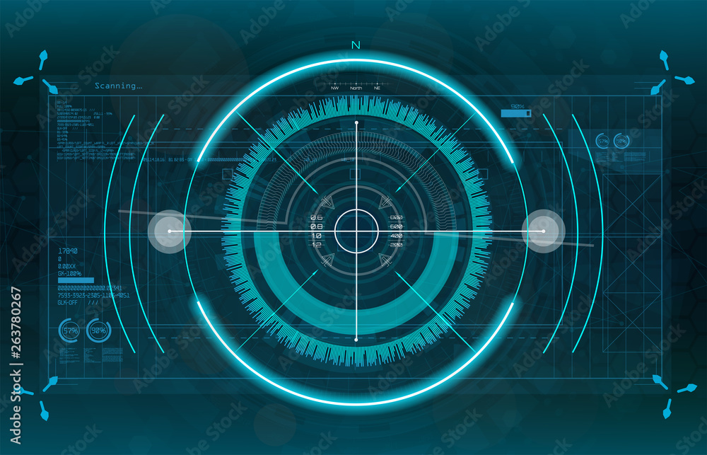 Fototapety, obrazy: Modern aiming system. Sci-fi futuristic spaceship crosshair. Outline HUD user interface. Fullcolor interface. Techno target screen elements. Abstract Technology background. Vector gadget