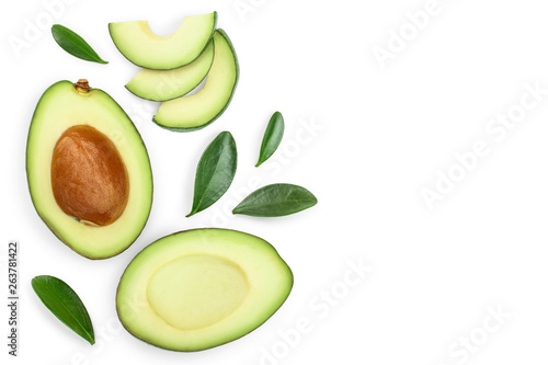 Fotografiet avocado and slices isolated on white background with copy space for your text