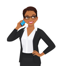 Elegant Business Woman Talking On Mobile Phone Isolated Vector Illustration