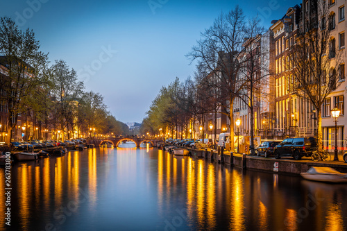 Photo  Night view of Amsterdam channels, Netherlands