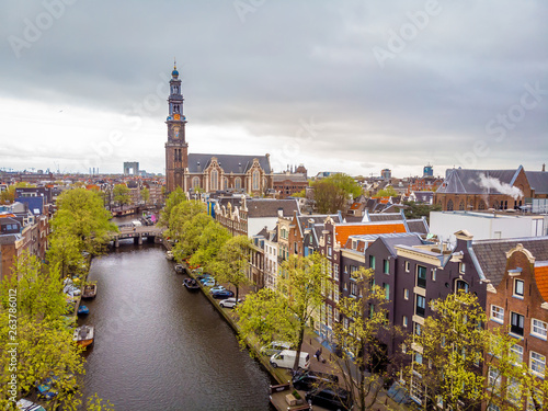 Aerial view of Amsterdam canals, Netherlands Wallpaper Mural