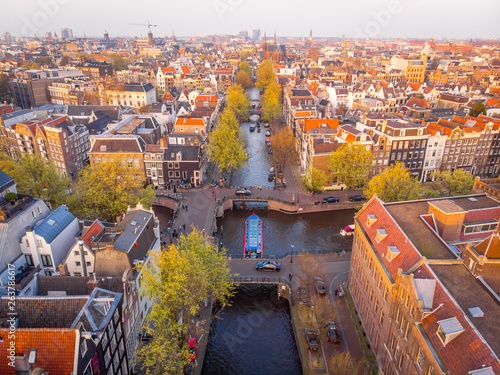 Foto op Plexiglas Oude gebouw Aerial view of Amsterdam after sunset, Netherlands