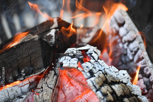Photo Burning wood in a traditional fireplace.