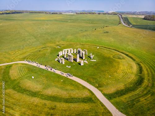 Obraz na plátně Aerial view of Stonehenge in summer, England