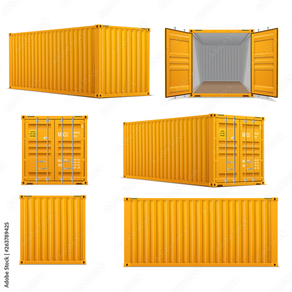 Fototapety, obrazy: Realistic set of bright yellow  cargo containers.   Front, side back and perspective view.