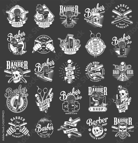 Vintage monochrome barbershop emblems Canvas Print