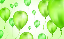 Glossy Olive Green Flying Helium Balloons Backdrop With Blur Effect. Wedding, Birthday And Anniversary Background. Vector Illustration For Invitation Card, Party Brochure, Banner