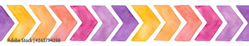 Photo Seamless repeating border pattern with cute watercolor chevron arrows of different colors (yellow, pink, purple variations)