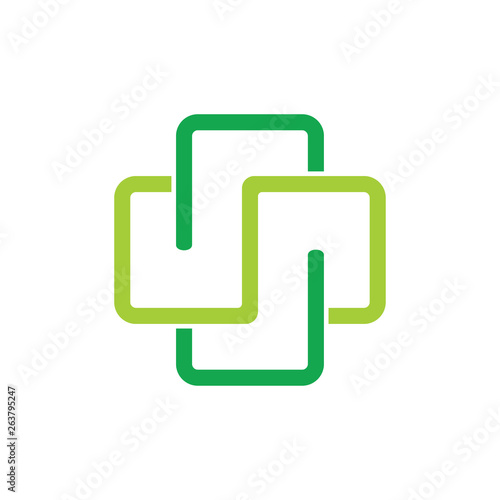 Photo  plus medical linear linked logo vector