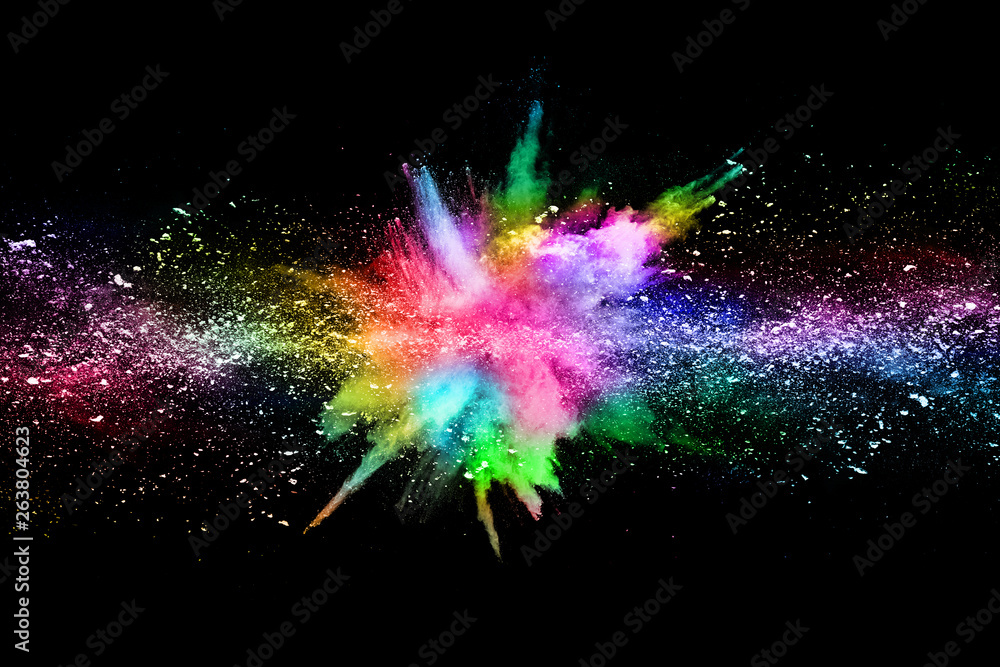 Fototapety, obrazy: abstract colored dust explosion on a black background.abstract powder splatted background,