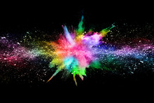 Abstract Colored Dust Explosion On A Black Background.abstract Powder Splatted Background,