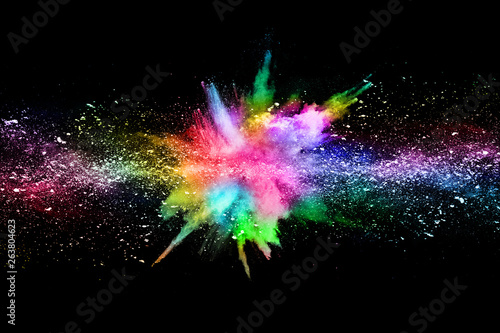 abstract colored dust explosion on a black background.abstract powder splatted background, - 263804623