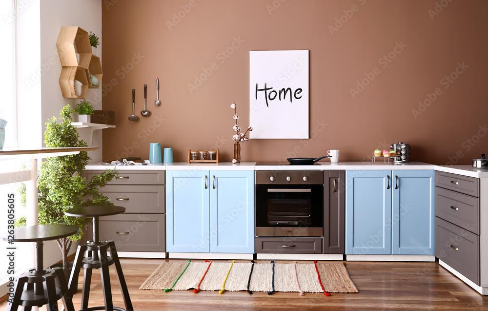 Fototapety, obrazy: Modern interior of kitchen with stylish furniture