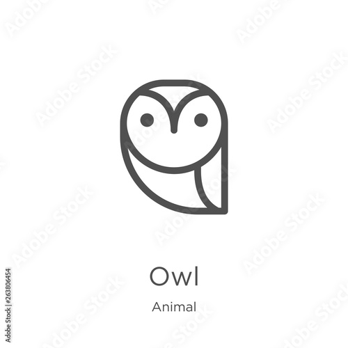 owl icon vector from animal collection. Thin line owl outline icon vector illustration. Outline, thin line owl icon for website design and mobile, app development.