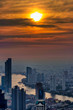 romantic sunset over Bangkok with view of the Chao Phraya river