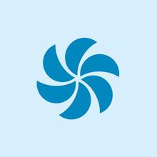Simple Circle Fan Propeller Symbol Logo Vector