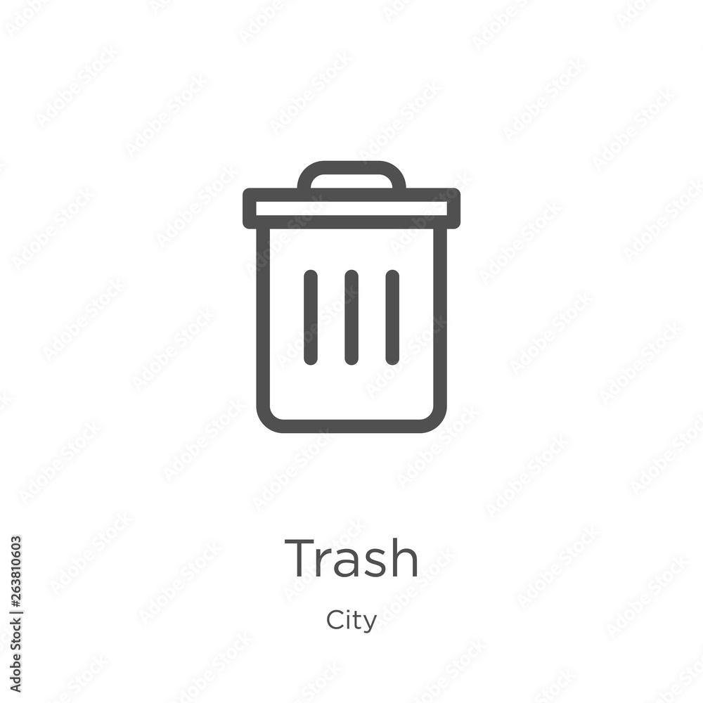 trash icon vector from city collection. Thin line trash outline icon vector illustration. Outline, thin line trash icon for website design and mobile, app development.